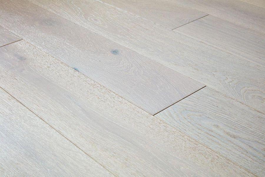 Engineered Oak Winter Whitewash Lacquered Wood Flooring - 15mm x 4mm x 190mm
